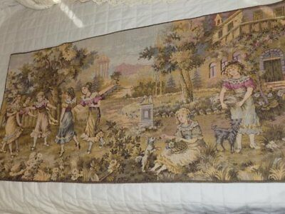Vtg Victorian Young Girls At Play Wall Table Woven Tapestry 37x18.5 Belgium