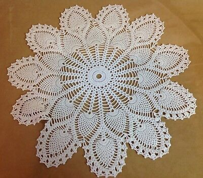 Vintage Hand Crocheted Large Round Doily, Cotton, Double Pineapple Design, White