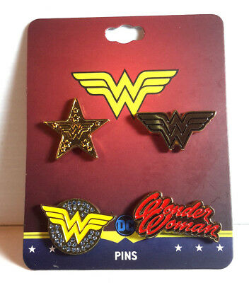 "Wonder Woman DC Comics 1"" Cloisonne/Metal Pin Set of 4- Bioworld"