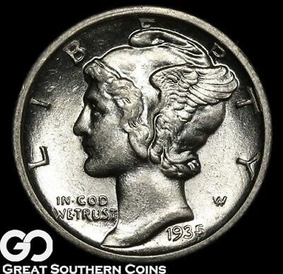 1935-D Mercury Dime, Full Split Bands, Gorgeous Superb Gem BU++ FSB