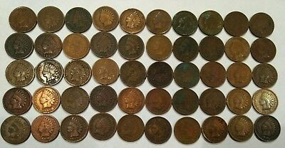 (ROLL of 50) 1900's mixed INDIAN HEAD CENTS. low grade, quality problems (lot#6)