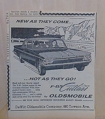 1962 newspaper ad for Oldsmobile, F-85 Cutlass, New As They Come Hot As They Go!