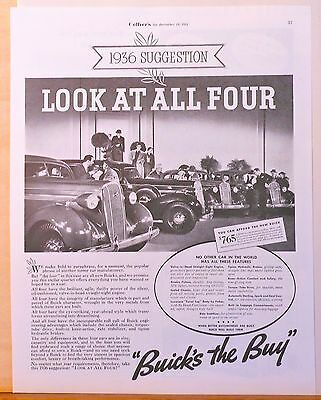 Vintage 1935 magazine ad for Buick - Look at all Four new Buicks for 1936