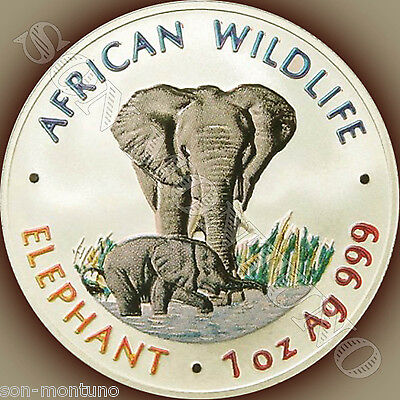 1999 ZAMBIA African Wildlife COLORIZED ELEPHANT 1oz Silver BEFORE SOMALIAN COINS