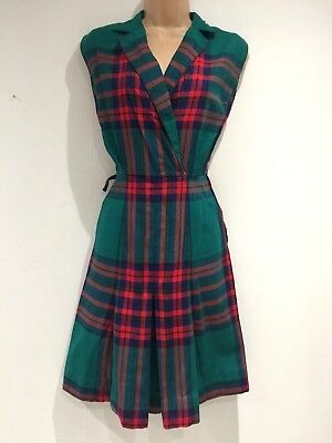 Vintage 1970's Green & Red Tartan Check Wool Blend Pleated Day Dress Size 10