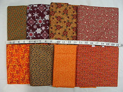 Lot of 8 Yards Autumn Floral Flower Red Orange Brown Craft Quality Cotton Fabric