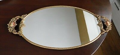 Vintage Gold Tone Ormolu Oval Vanity Mirror Tray With Cameos