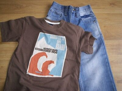 Boys Next Straight Leg Blue Jeans With Brown Surfers Tshirt Top Age 4-5 Yrs