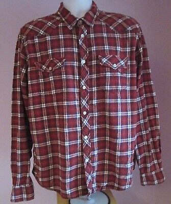 VTG Mens LOGG H&M Red/White Collar Fitted Thin Western Flannel Shirt Size Medium