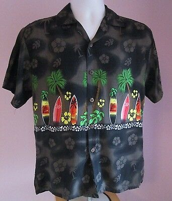 VTG Mens CLEAR BLUE SKY Brown Surfboards Hawaiian Short Sleeve Shirt Size Small