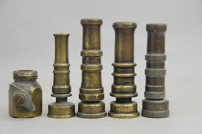 """Antique Vintage Brass Boston Rainbow Italy Nelson Hose Nozzle Up To 4"""" Lot Of 4"""