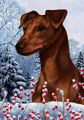Large Indoor/Outdoor Winter Flag - Uncropped Red Miniature Pinscher 15151