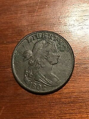RARE 1802 Large Cent, Draped Bust, Very Scarce AU Tough Early Copper