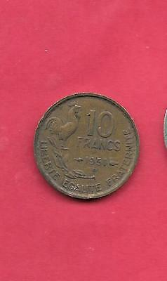 France French Km915.2 1951-B Vf-Very Fine-Nice Old Vintage 10 Franc Coin