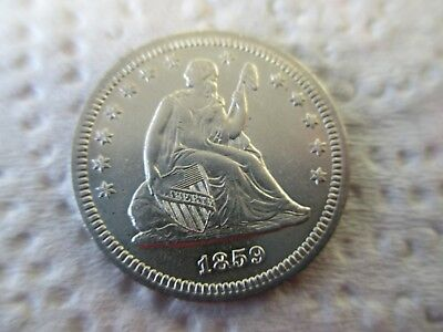 1859 Seated Quarter,Near Mint but Polished long ago, Great Looking coin,LowStart