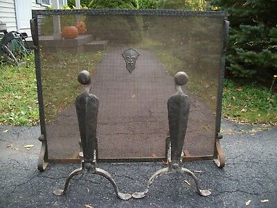 Antique Fireplace Screen & Andirons 1800s 1900s Hand Forged Very Early Original
