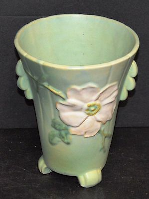 "Set of 4 Rare 1930's Weller Pottery Green Wild Rose Vase 8"",6.5"", Pair of 6"""