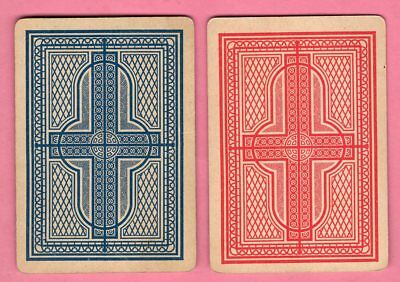 2 Single Swap Playing Cards WIDE #18F RED & BLUE DESIGN VINTAGE ANTIQUE OLD PAIR