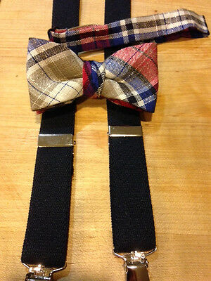 New  Boys Red/tan/blk Linen Banded Bow Tie/black Suspender Set/usa Made