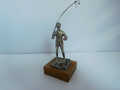 Good Quality English Solid Sterling Silver Fly Fisherman Figure Limited Edition