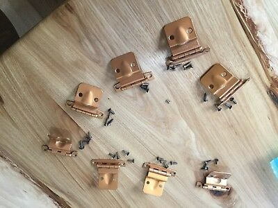 Vintage 1960s 3/8 inset hinge without spring copper color cabinet door hinges 8