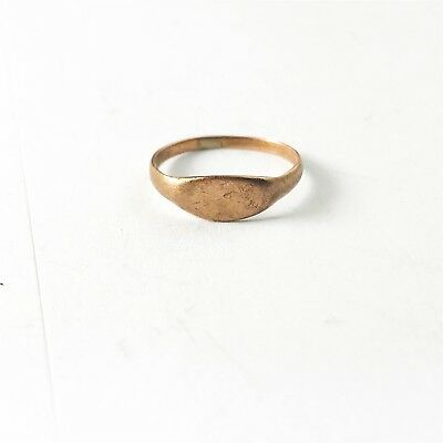ANTIQUE SOLID 9ct ROSE GOLD VICTORIAN BABY CHILD SMALL SIGNET RING