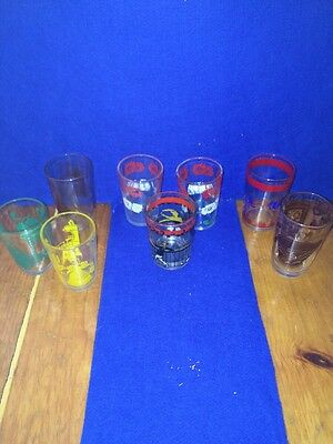 Set 7 Vintage Sour Cream Swanky Swig Glasses Betty Sailboat Bar Floral  Juice