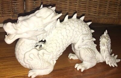 "FITZ & FLOYD White Porcelain DRAGON FIGURINE 11"" LONG F22/32 Mexico"