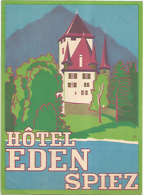 HOTEL EDEN luggage SUISSE label (SPIEZ)