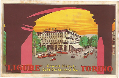HOTEL LIGURE luggage DECO label (TORINO)
