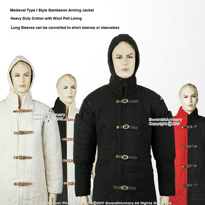 Medieval Gambeson Type I Padded Armour Coat Arming Jacket 6 Sizes  SCA WMA LARP