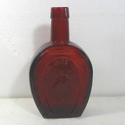 "WHEATON red glass bottle 7.5"" ""Horse Shoe Bitters"" ᵃ B1"