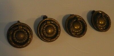 4 Round Matching BRASS Drop Bail Pulls Antique Chippendale, Federal