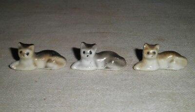 Vintage Miniature Porcelain Cats Lot of 3 Dollhouse Size