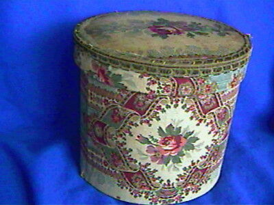 Antique Cotton Fabric Covered BOX from France-Original-5.5 x 5ins-nice lid-neat