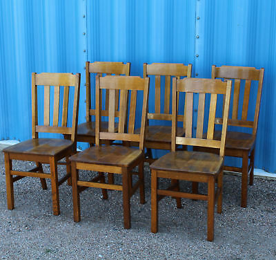 Antique Mission Oak Matching Chairs Set of Six Chairs - Solid Seats