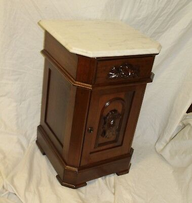 Antique Victorian Walnut Commode – Night stand – marble top - Stylish