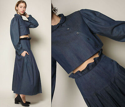 vtg 80s dark denim ROMANTIC avant garde POUF crop blouse + maxi skirt 2pc set SM