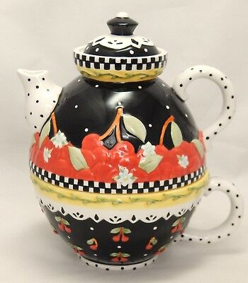 Michel & Co MARY ENGELBREIT Cherries Stacking Teapot and Cup For One - Exc Cond!