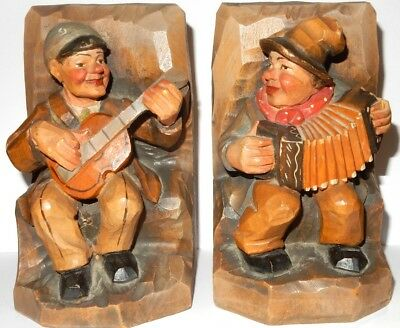 "ANRI ITALY hand carved set book-ends, Two men playing music, 6"" tall"