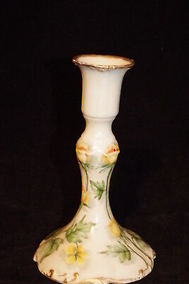 Antique Limoges J Pouyat Hand Decorated Single Candlestick Yellow Roses  Limoges