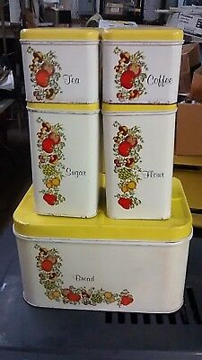 Vintage Metal Cheinco Cannister Rare Set Of Five 5 Pieces Vegetable Pattern