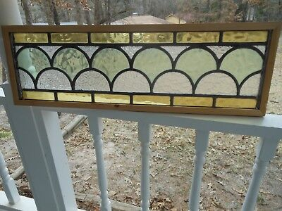Y-133 Lovely Transom Style Leaded Stain Glass Window From England Reframed