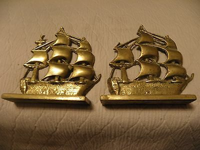 Pair of vintage brass schooner clipper ship bookends