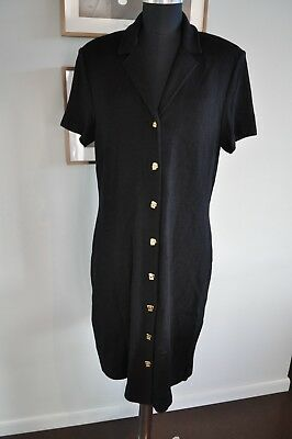 Vintage St. John Collection by Marie Gray Sweater Dress Black Made in USA