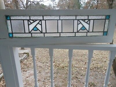 Y-136 Lovely Older Transom Type Leaded Stained Glass Window From England
