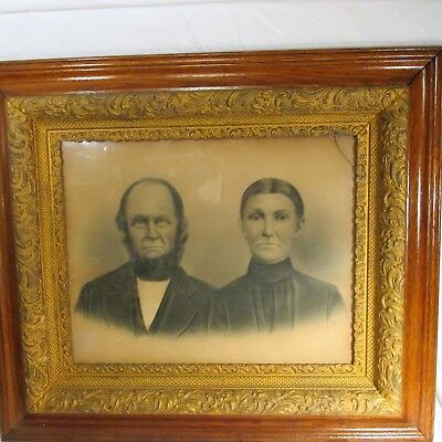 Antique Ornate Oak Wood Gesso Picture Frame Print Large 16 x 20 couple drawing