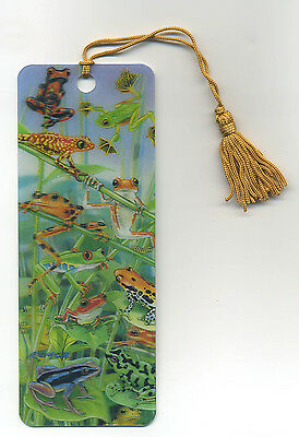 FROGS and TOADS 3-D Lenticular Bookmark 2 1/4 by 6 inches FANTASTIC 3-D!