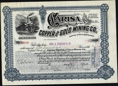 Carisa Copper And Gold Mining Co, 1914, Mines In Tintic, Utah, Uncancelled Stock