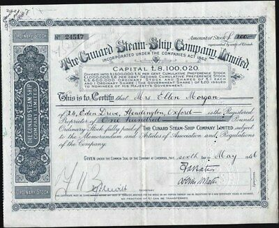 Cunard Steam - Ship Co Limited, Liverpool, Uk Stock Certificate